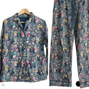 Nick & Nora Pajama Set Owl Flannel 2pc PJs Comfort
